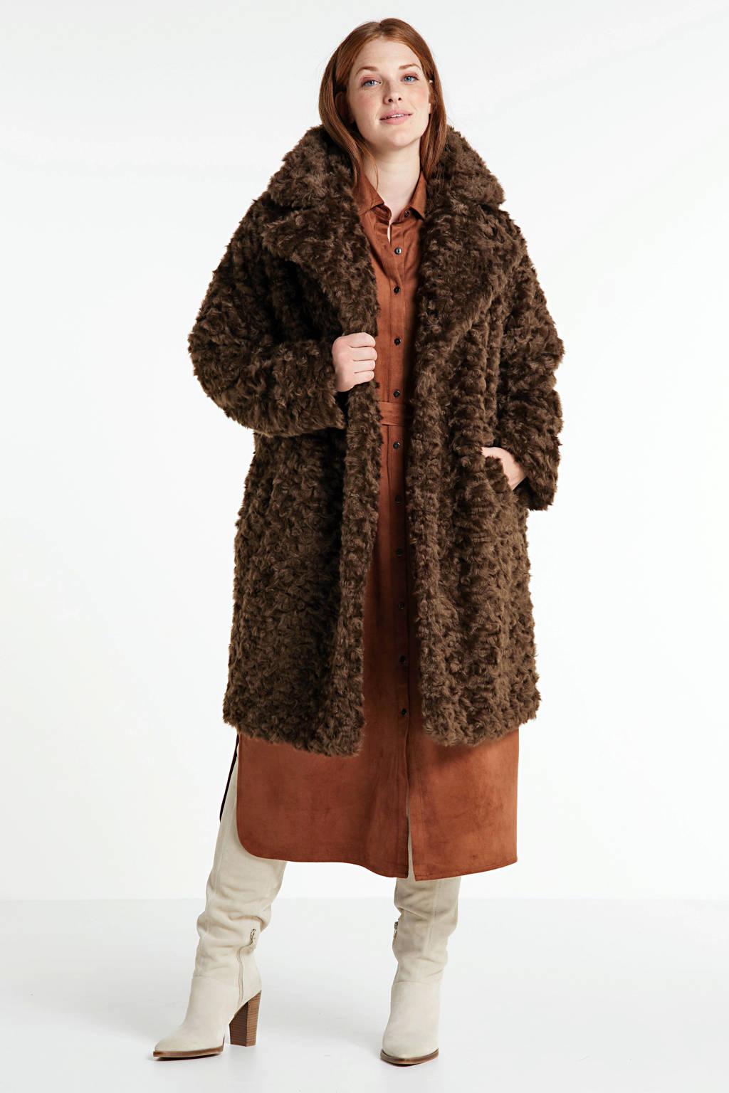 Yesta teddy coat bruin met reverskraag, Bruin