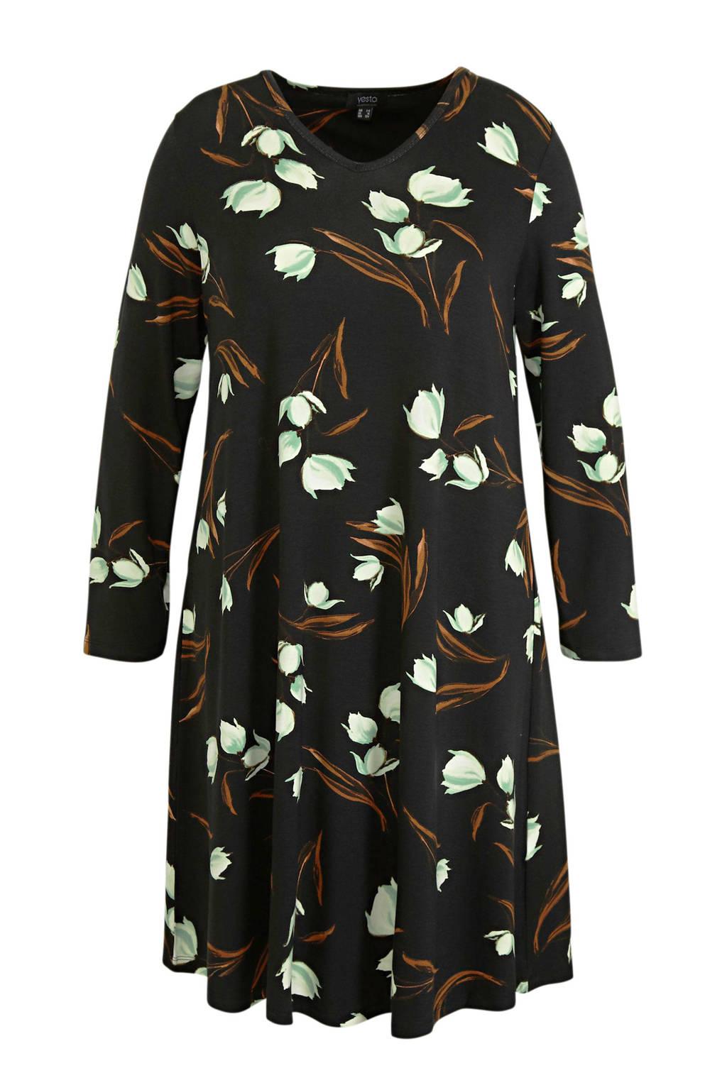 Yesta jurk Amalie Essential met all over print zwart/mintgroen/bruin, Zwart/mintgroen/bruin