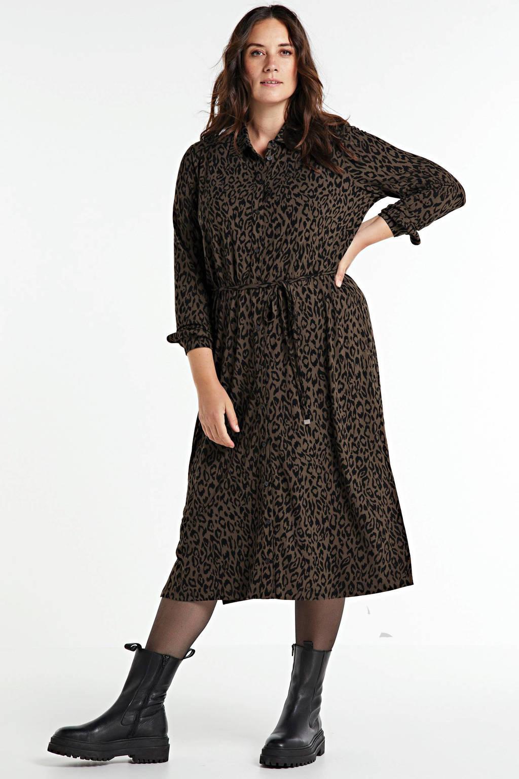 Yesta blousejurk met panterprint bruin/zwart, Bruin/zwart