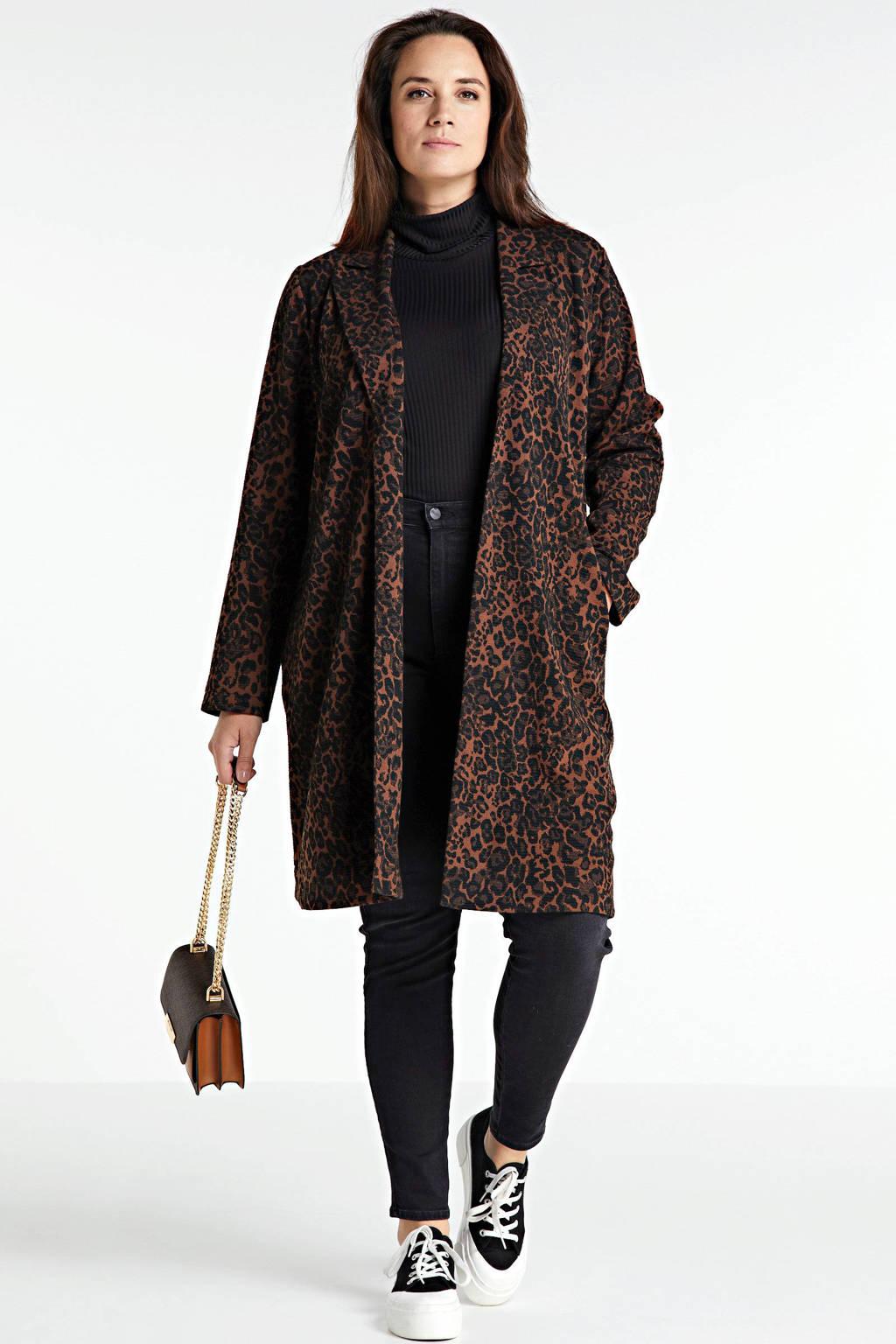 Yesta coat met dierenprint bruin/zwart, Bruin/zwart