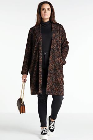 coat met dierenprint bruin/zwart