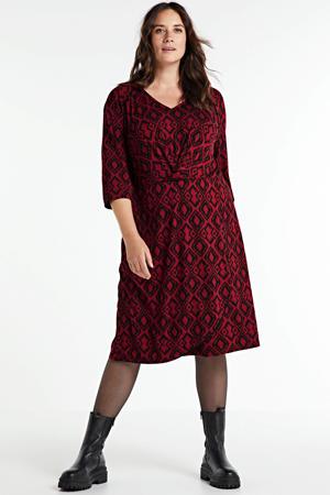 jurk met all over print rood/zwart