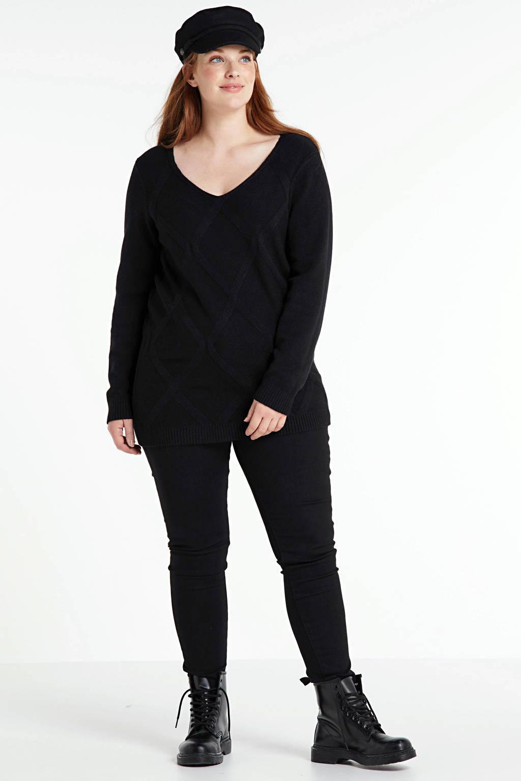 Yesta gebreide trui met textuur zwart, Zwart
