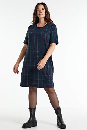 geruite jurk donkerblauw/groen