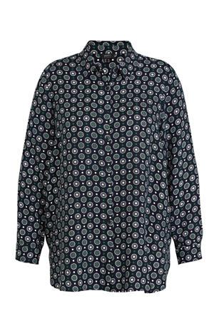 blouse met all over print zwart/wit/donkergroen