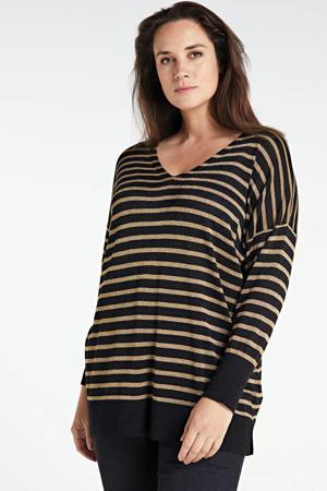 gestreepte ribgebreide trui zwart/multi
