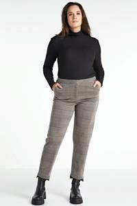 Yesta geruite cropped slim fit broek beige/zwart/wit, Beige/zwart/wit