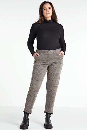 geruite cropped slim fit broek beige/zwart/wit