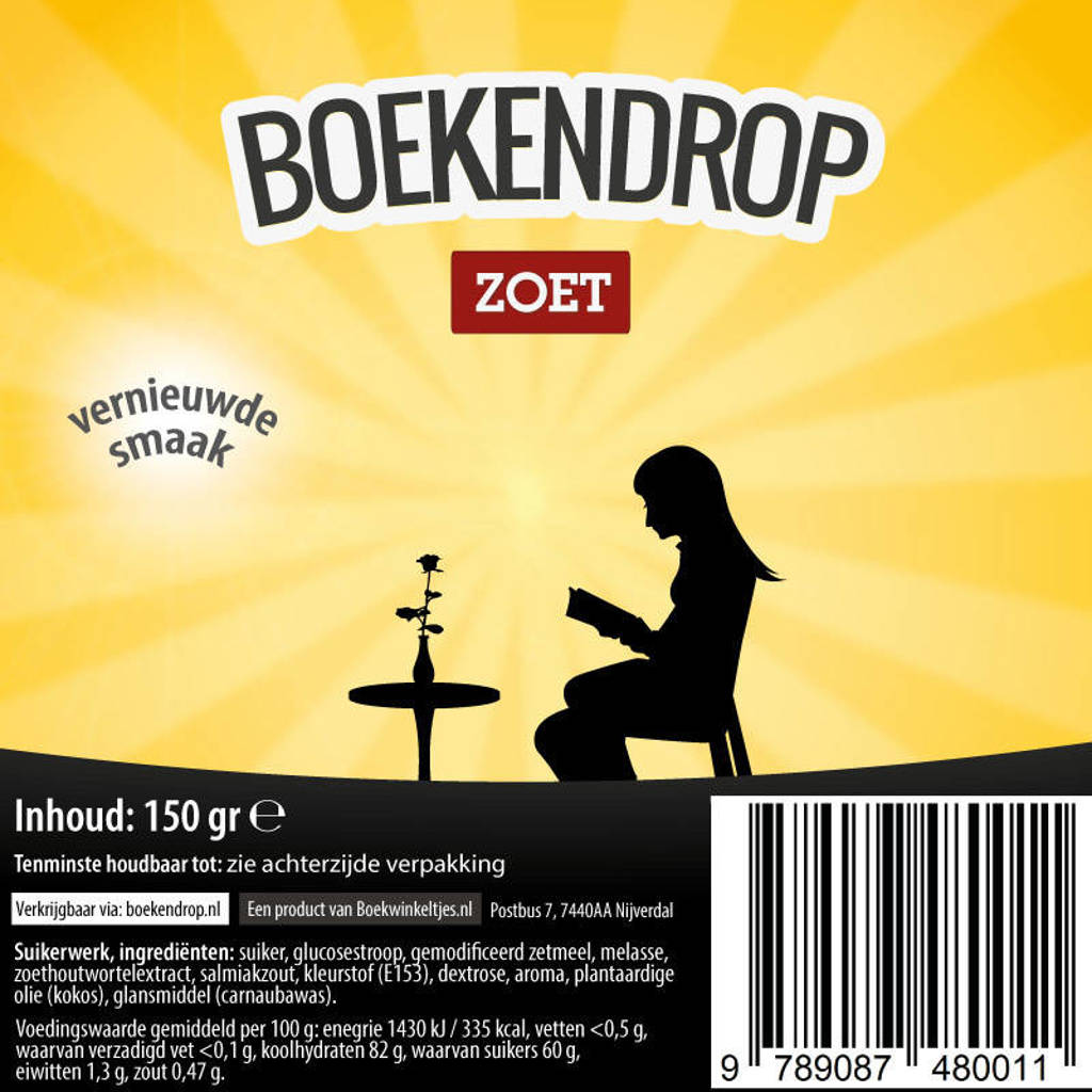 Boekwinkeltjes-reeks: Boekendrop, doos met 30 zakjes a 150 gram drop