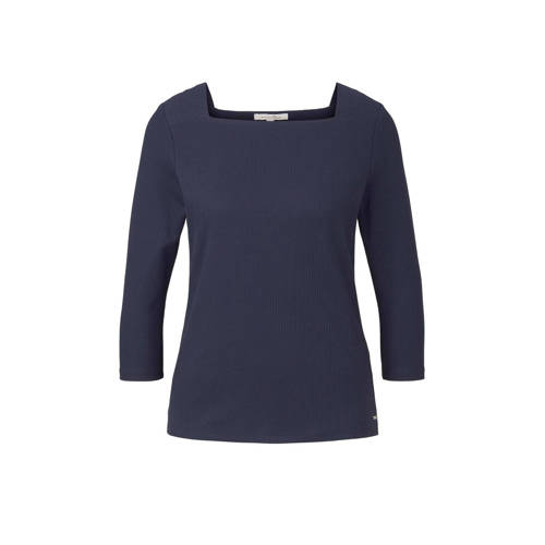 Tom Tailor ribgebreide top donkerblauw