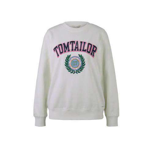 Tom Tailor sweater met logo ecru/multi