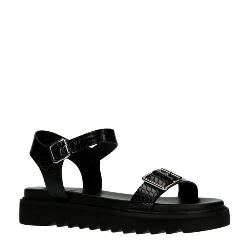 ONLY plateau sandalen crocoprint zwart