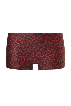 short met panterprint rood/zwart