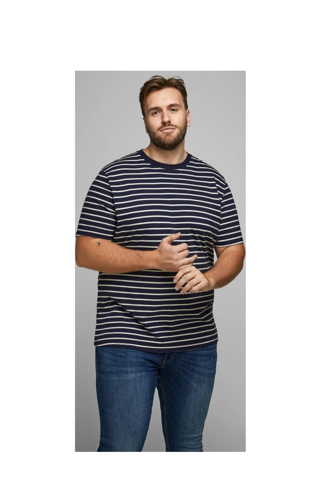 JACK & JONES PLUS SIZE gestreept T-shirt donkerblauw, Donkerblauw