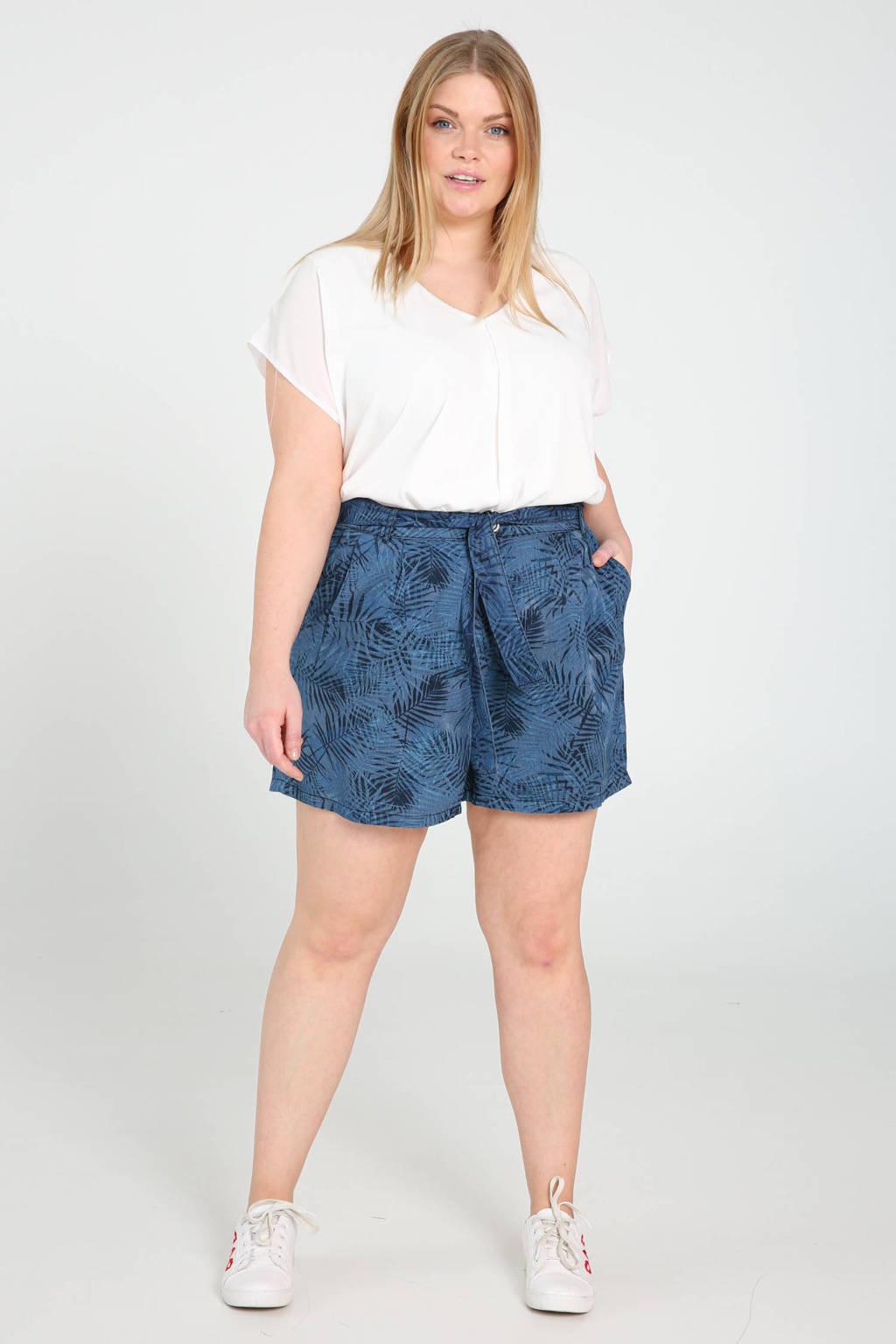 Paprika high waist regular fit short met bladprint blauw, Blauw