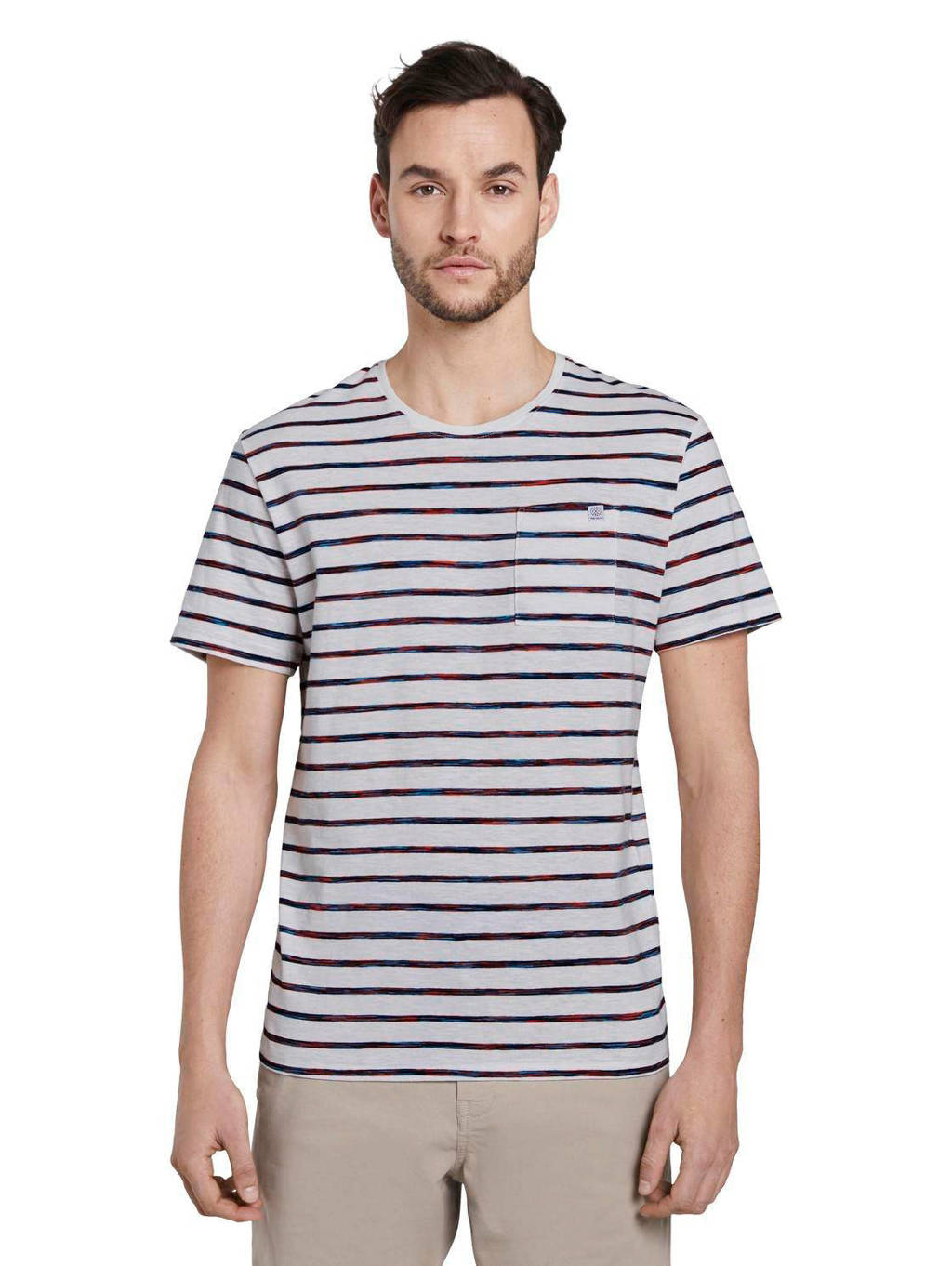 Tom Tailor gestreept T-shirt wit, Wit/antraciet