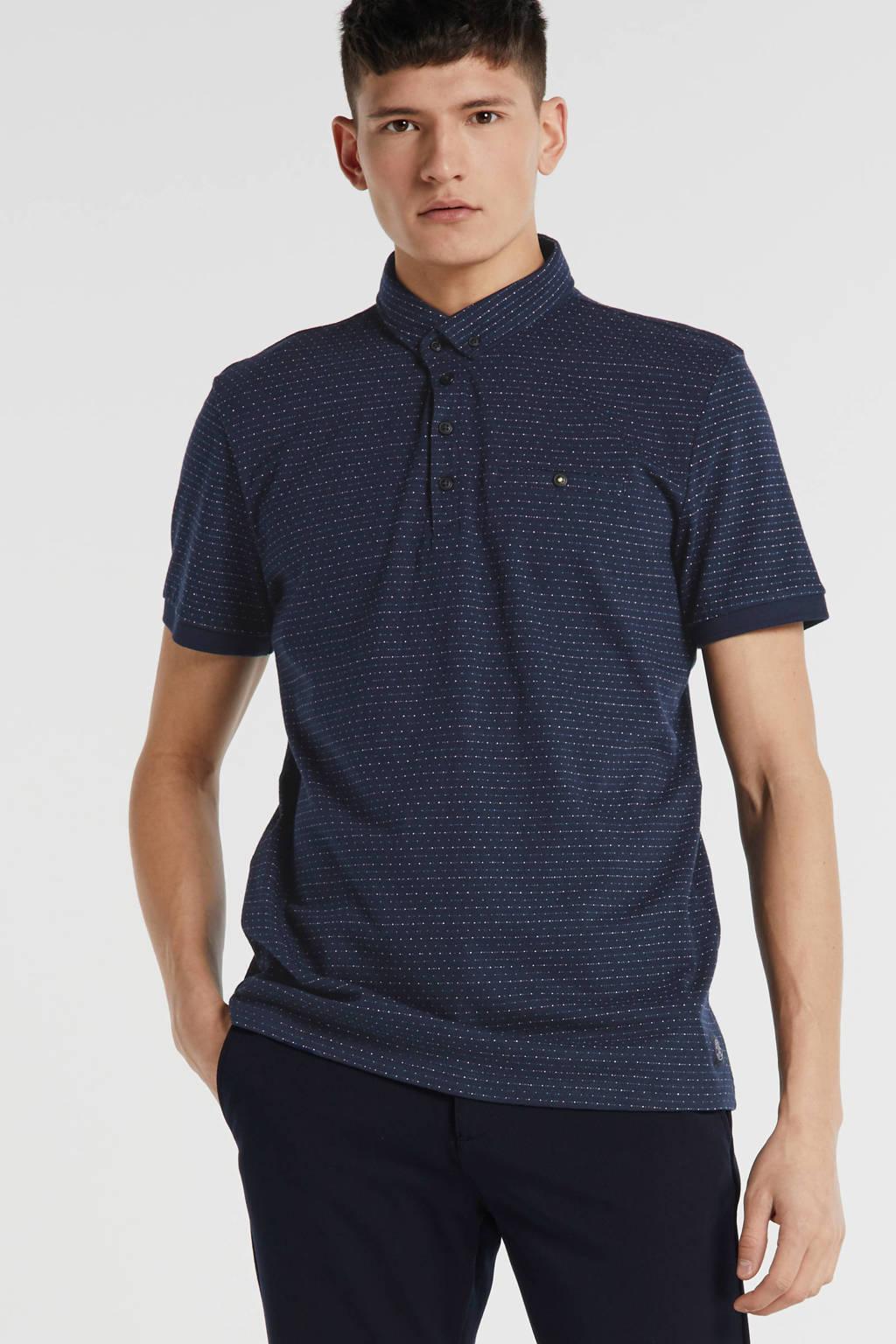 Tom Tailor regular fit polo met all over print blauw, Blauw