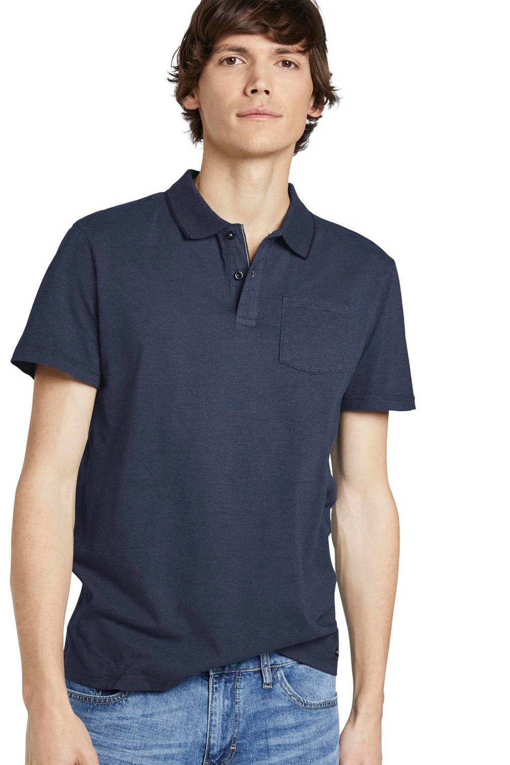 Tom Tailor slim fit polo donkerblauw, Donkerblauw