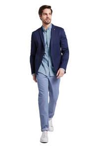 Tom Tailor slim fit overhemd met all over print blauw, Blauw