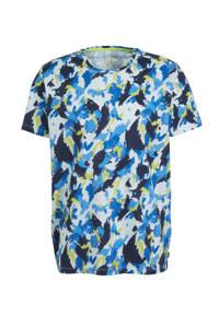 edc Men T-shirt met all over print blauw, Blauw
