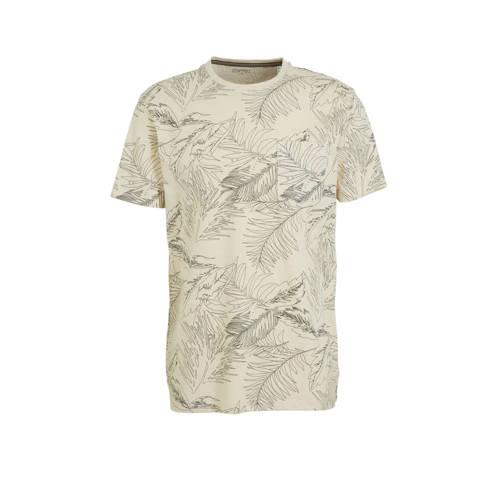 ESPRIT Men Casual T-shirt met all over print beige