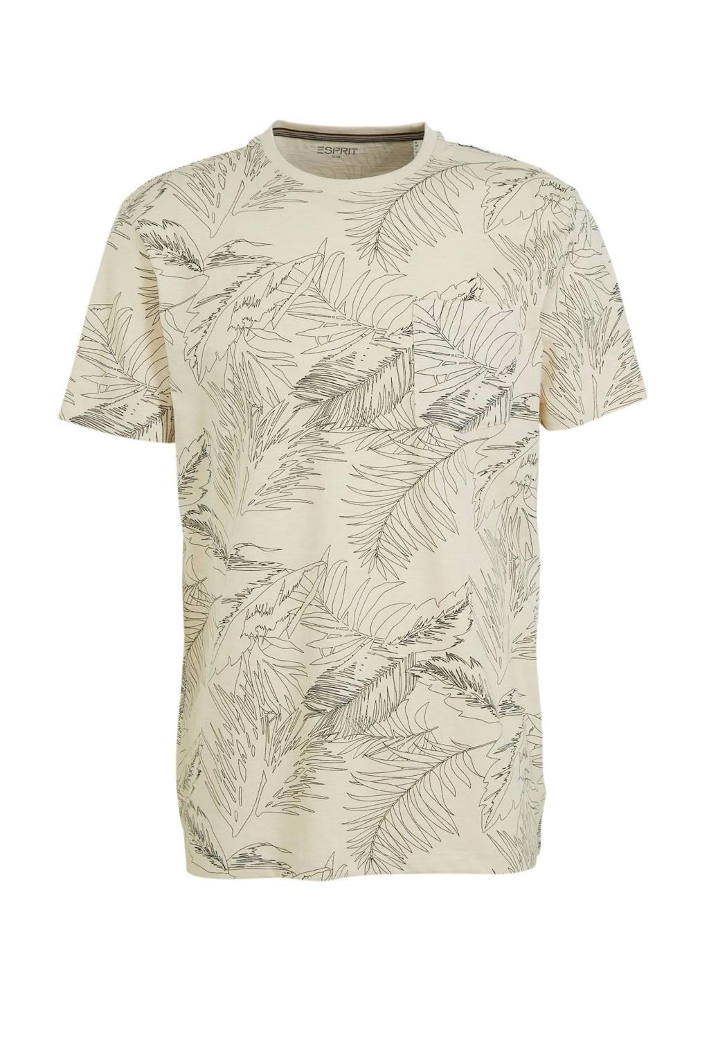 ESPRIT Men Casual T-shirt met all over print beige, Beige