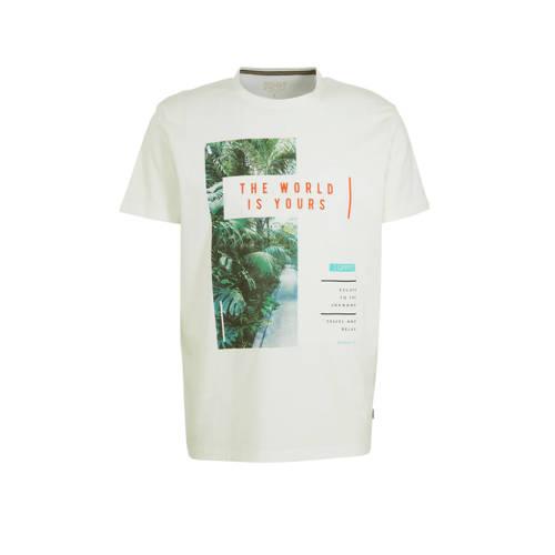 ESPRIT Men Casual T-shirt met printopdruk wit