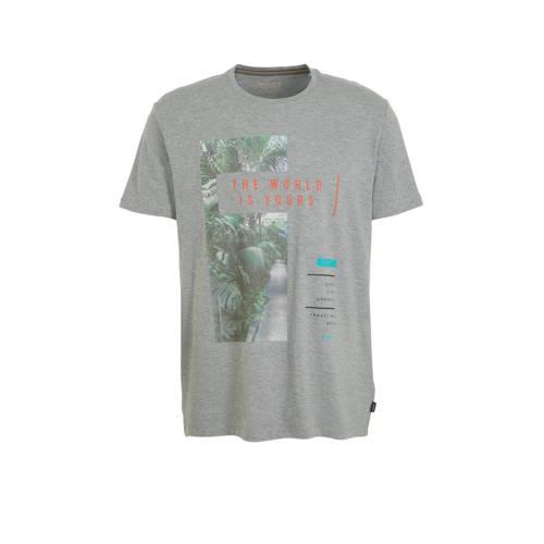 ESPRIT Men Casual T-shirt met printopdruk grijs