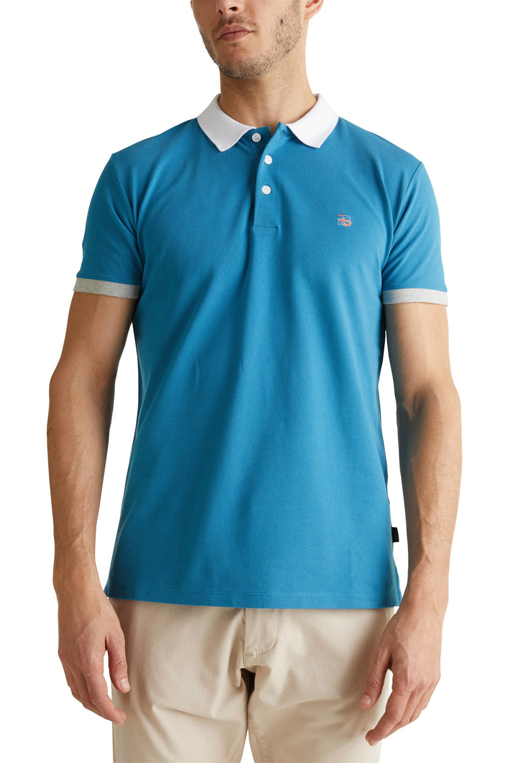 ESPRIT Men Casual slim fit polo blauw, Blauw