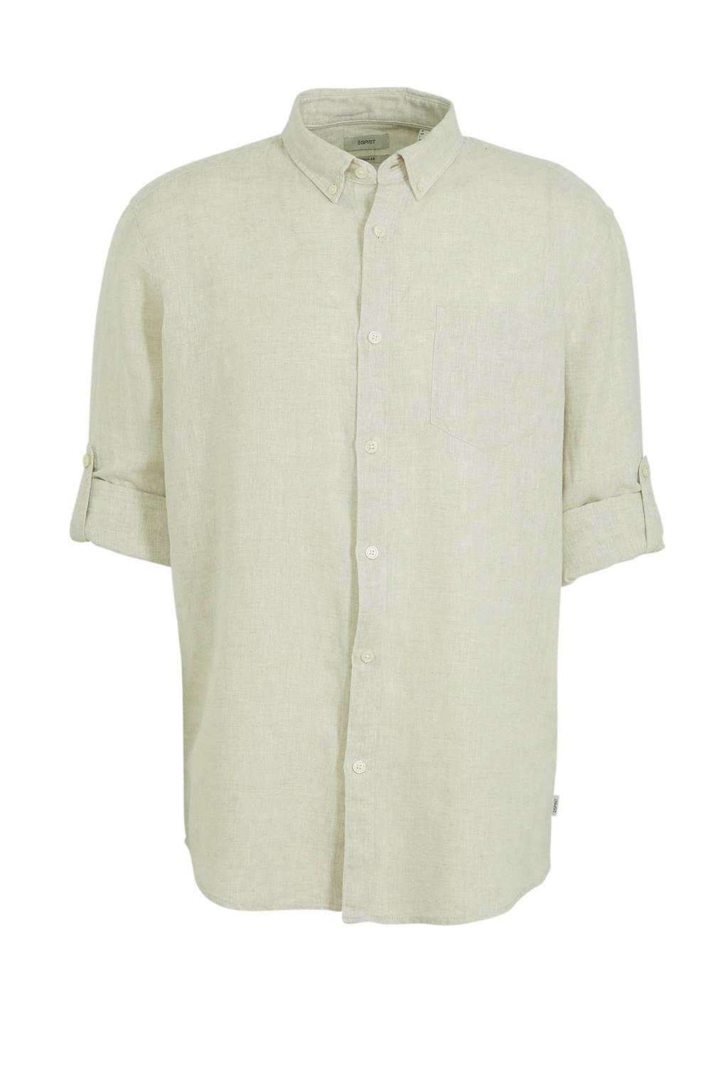 ESPRIT Men Casual regular fit overhemd met linnen lichtgroen, Lichtgroen