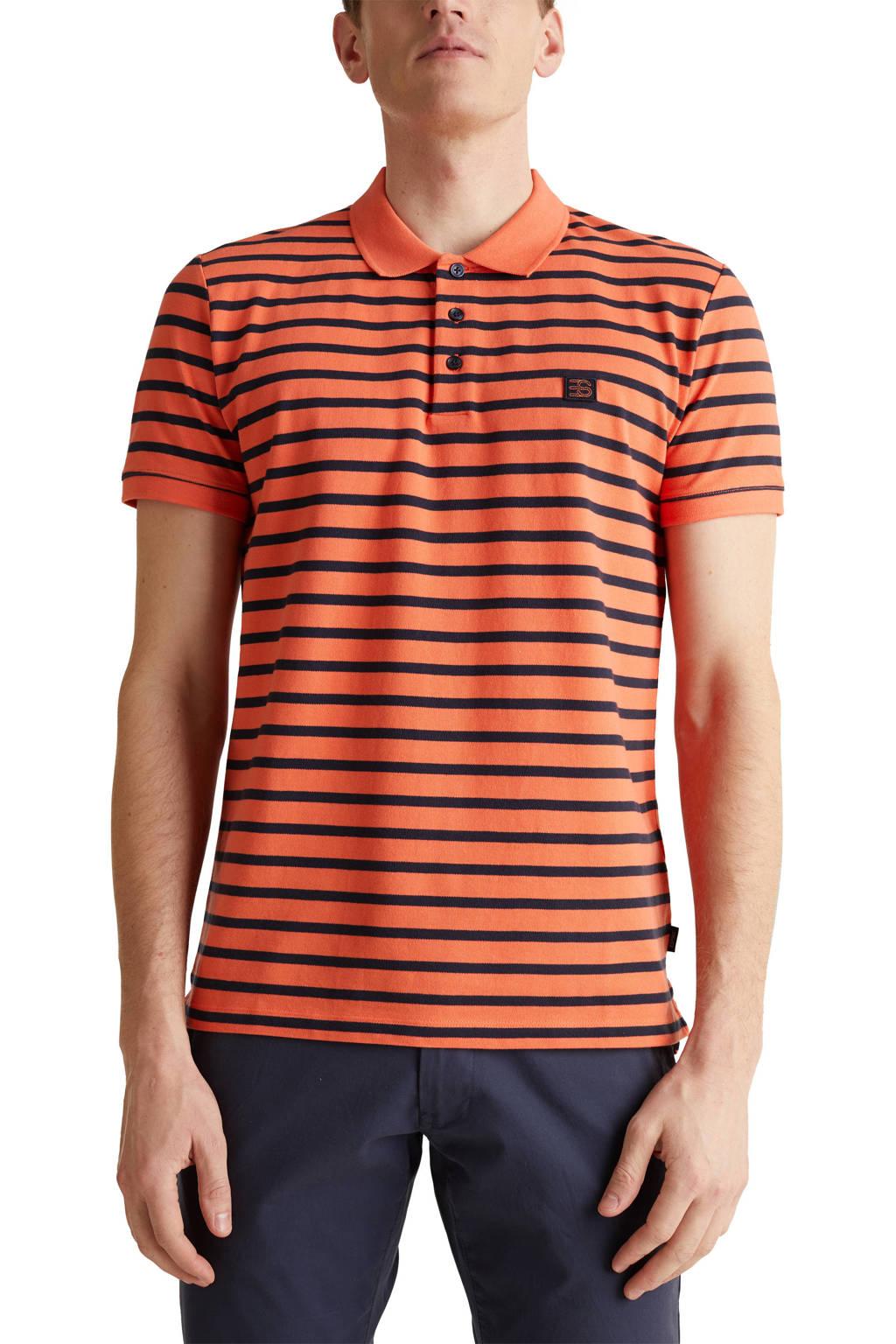 ESPRIT Men Casual gestreepte slim fit polo oranje, Oranje