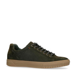 suède sneakers donkergroen