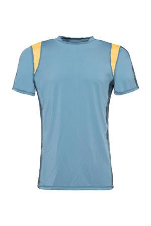 hardloop T-shirt blauw/geel