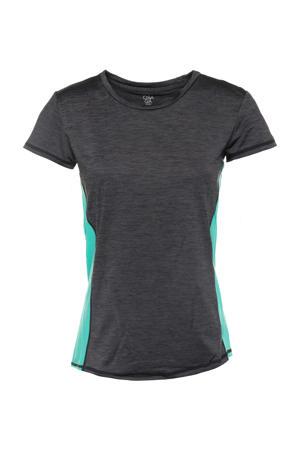 hardloop T-shirt antraciet/blauw