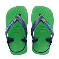 Havaianas Baby Brasil Logo II  teenslippers blauw/groen, Groen/blauw