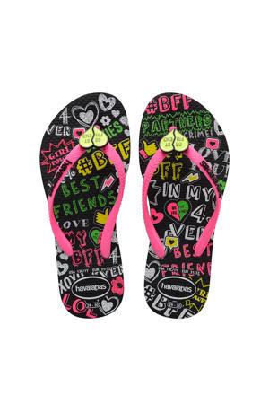 Kids Slim Bff Tweens  teenslippers roze/zwart