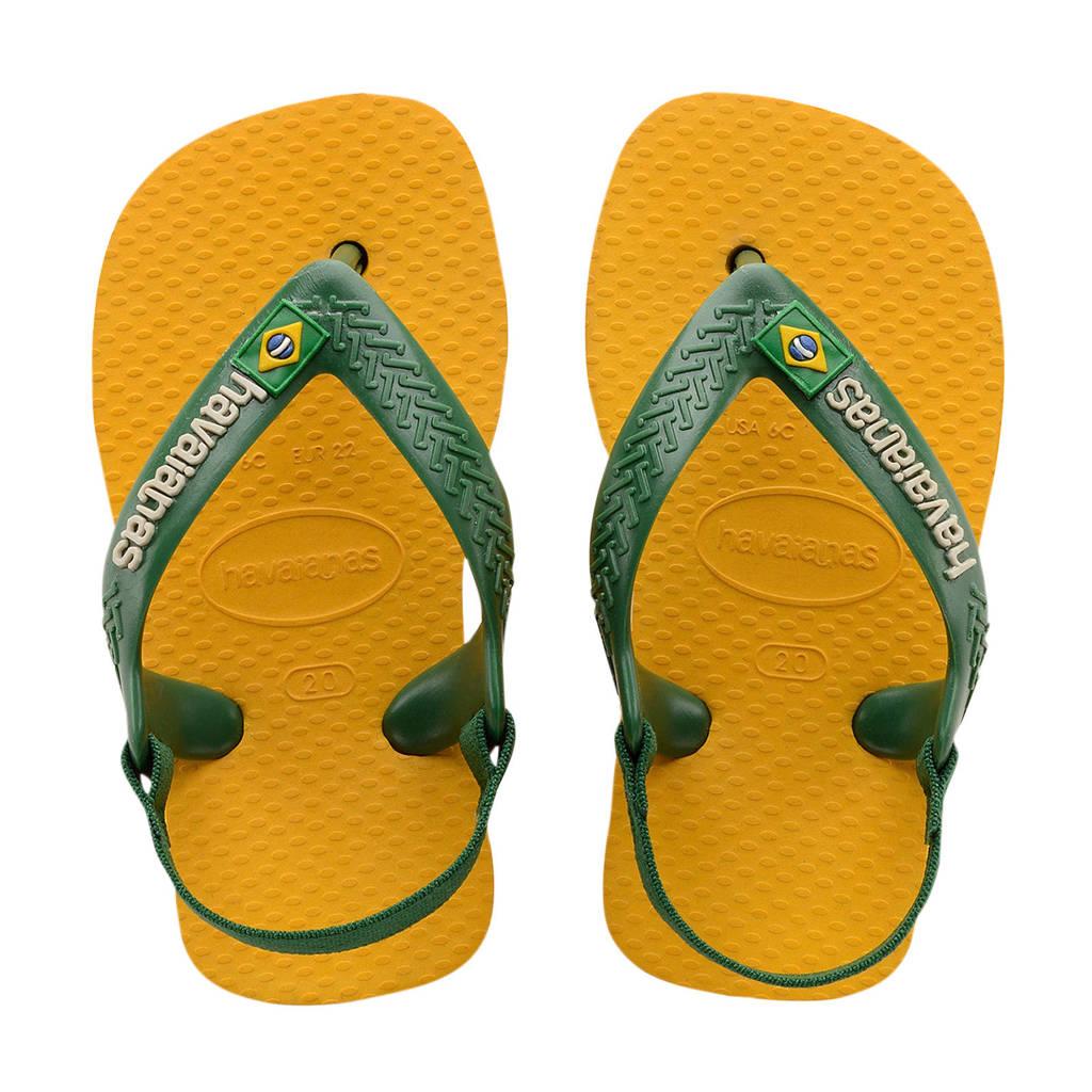 Havaianas Baby Brasil Logo II  teenslippers geel/groen, Geel/groen