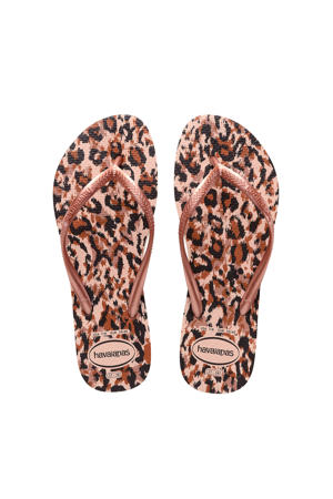 Kids Slim Animals  teenslippers roségoud/panterprint