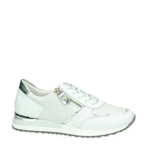 leren sneakers wit/zilver