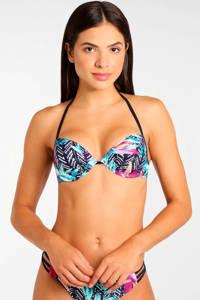 Venice Beach gebloemde push-up bikinitop donkerblauw, Donkerblauw