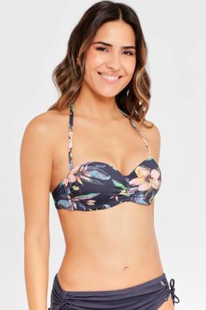 gebloemde strapless bandeau bikinitop donkergrijs/blauw/roze