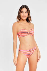 Lascana gestreepte strapless bandeau bikini oranje, Oranje