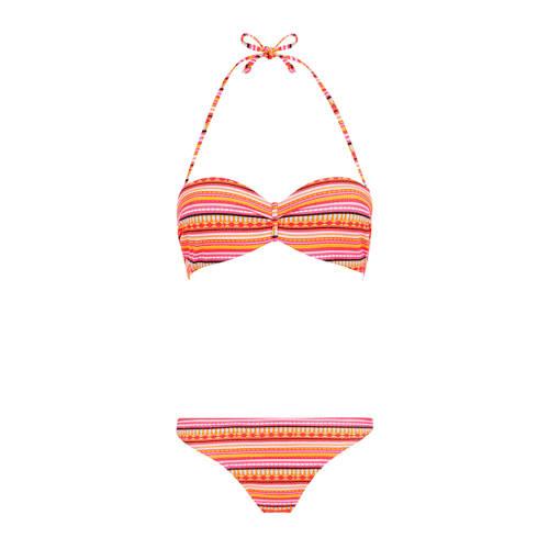 Lascana gestreepte strapless bandeau bikini oranje
