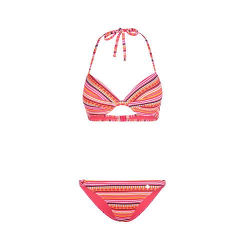 Lascana push-up bikini met all over print roze/ora