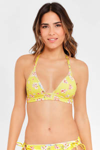 Sunseeker gebloemde triangel bikinitop geel/roze/wit, Geel/roze/wit