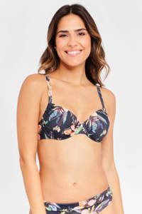 Lascana gebloemde beugel bikinitop donkergrijs/blauw/roze, Donkergrijs/blauw/roze