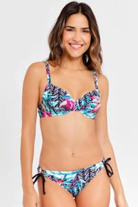 Venice Beach gebloemde beugel bikinitop zwart/roze/blauw, Zwart/roze/blauw