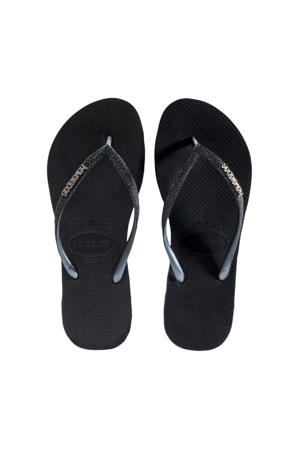 Slim Sparkle  teenslippers zwart