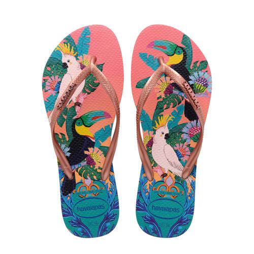 Havaianas Slim Tropical teenslippers roze/multi