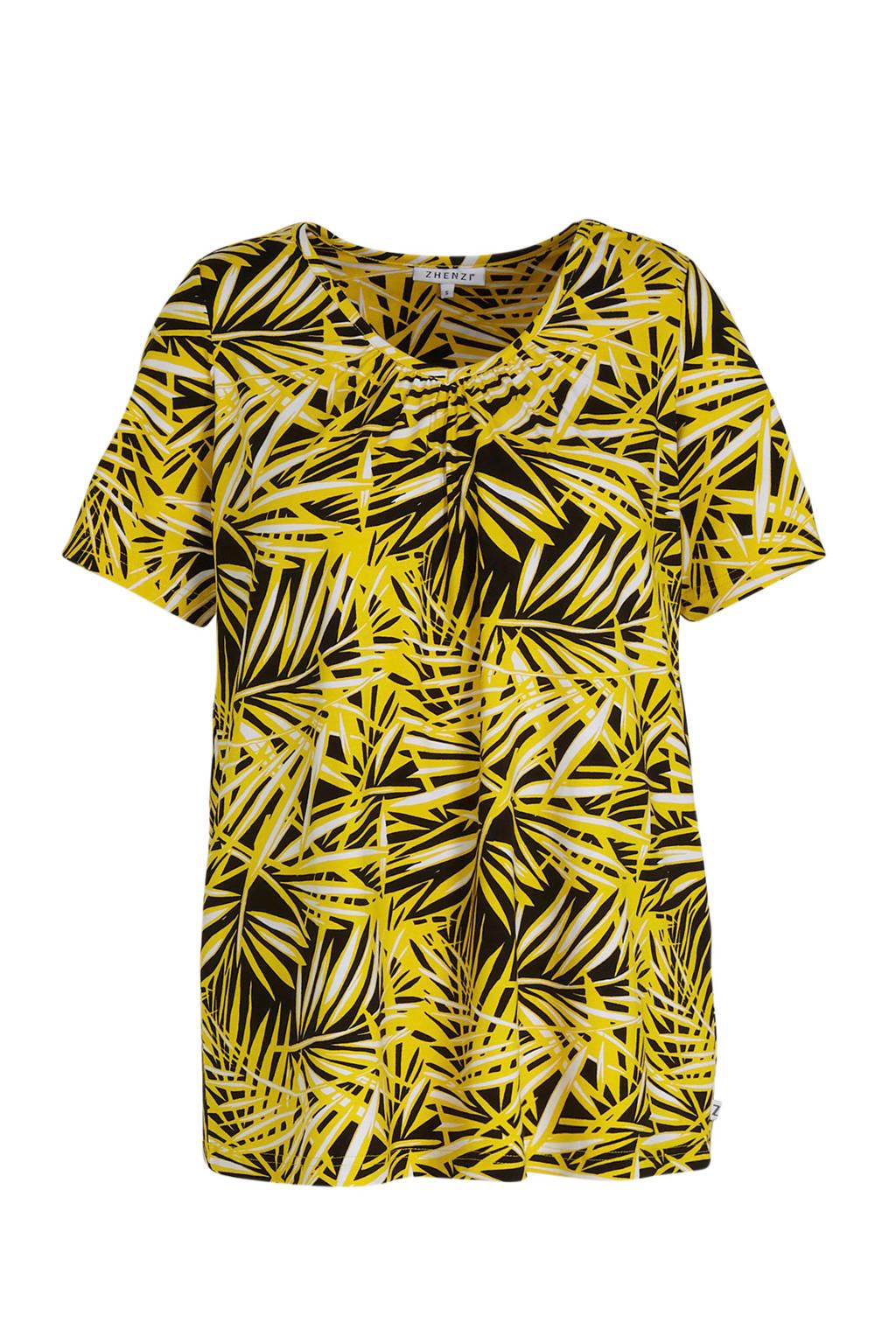 Zhenzi T-shirt met all over print en plooien geel/zwart/wit, Geel/zwart/wit